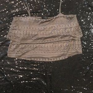 Tops - CUTIE PIE STRAPY LACE CROP TOP W. OVERLAPPING